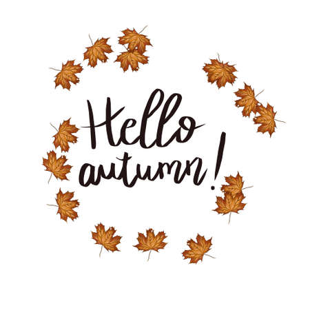 Hand drawn typography lettering phrase Hello, Autumn! isolated on the white background. Fun brush ink calligraphy inscription for photo overlays, greeting and invitation card or t-shirt print design. Фото со стока