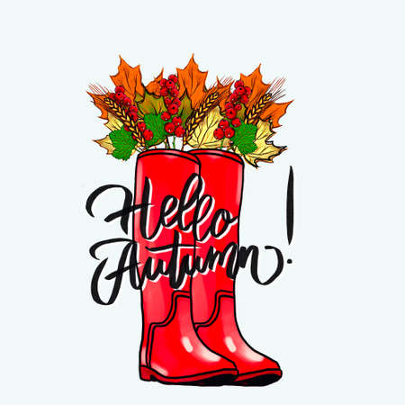 Red Rubber Boot with Lavish Autumn Leaf Arrangement. Watercolor Autumnal Illustration for Print, Announcement, Advertisement, Card, and Various Creative Decoration. Autumnal Leaf Bunch in a Boot. Фото со стока