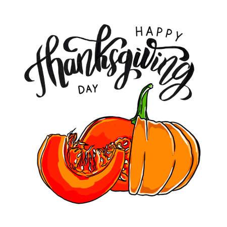 Happy Thanksgiving design template with pumpkin. Фото со стока