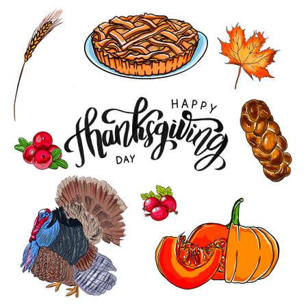 Thanksgiving day icon set.