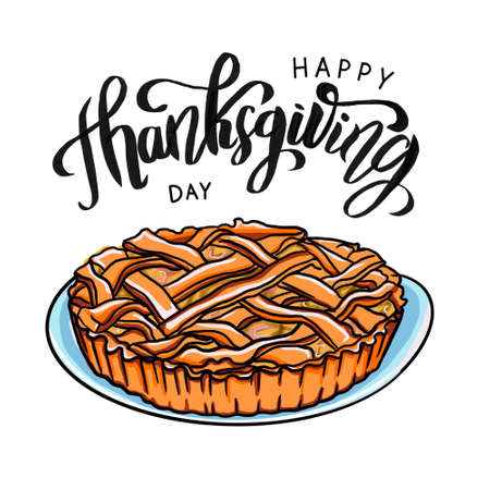 Happy Thanksgiving design template with pie.
