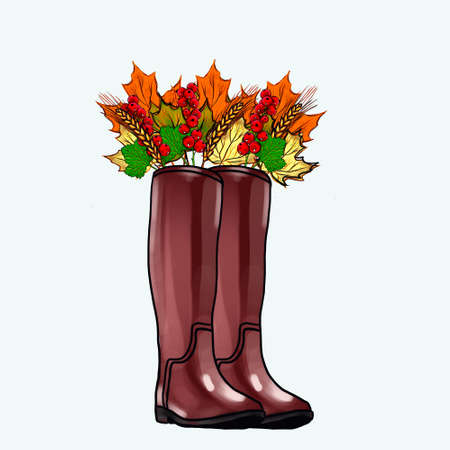 Brown rubber boots with lush autumn leaf trim. Watercolor autumn illustrations for print, ads, advertisements, postcards and various creative decorations. Autumn bouquet of leaves in a boot.