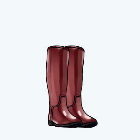 Raster illustration brown wellington rubber boots fashion design. Waterproof boots