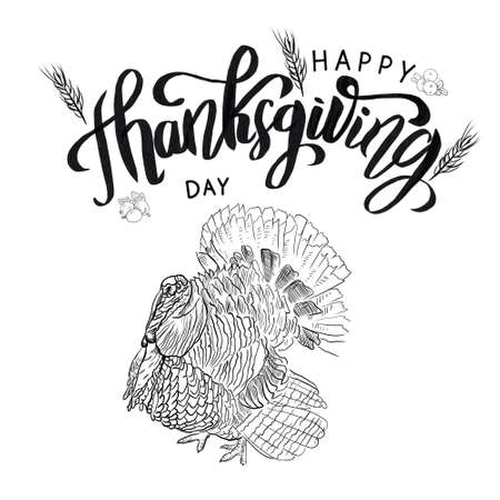 Black and white Thanksgiving design template with turkey.