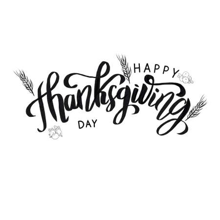 Happy Thanksgiving black and white handwritten lettering inscription for greeting cards, posters, print and holidays design, calligraphy illustration