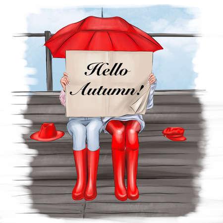 Girls under one umbrella. Hello, Autumn.