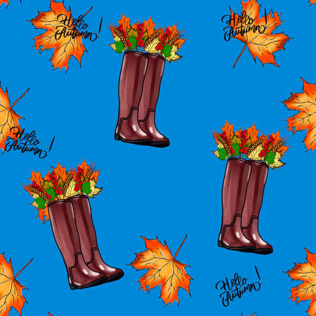 watercolor seamless pattern oak branches, umbrella and boots