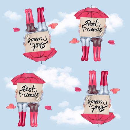Best friends seamless pattern under the umbrella.