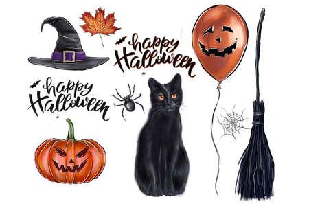 set of illustrations halloween theme