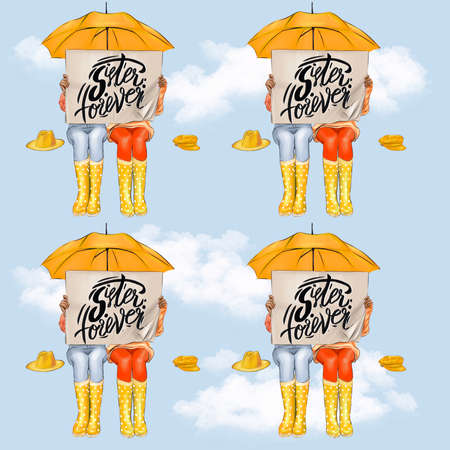 Sisters on always seamless pattern under an umbrella against the sky.