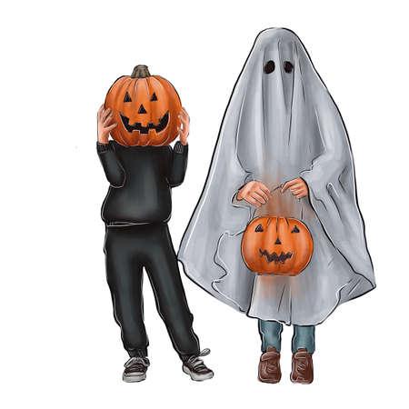Halloween illustration. Children disguised as ghosts.