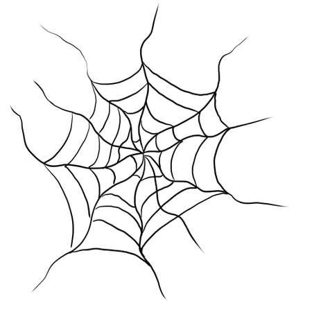 Black spider web on a white background.
