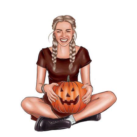 Halloween illustration. Girl with a pumpkin. Фото со стока