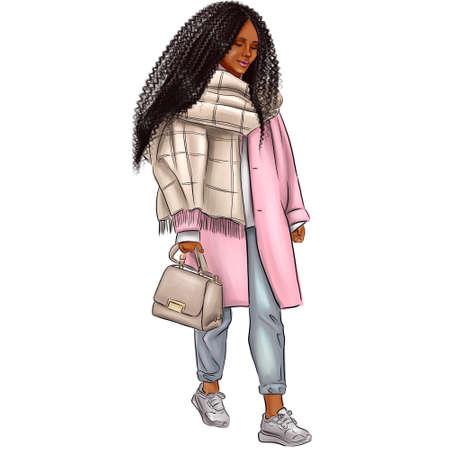 Cute black woman have fun in a city. Beautiful black girl in a pink coat.