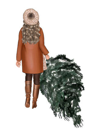 A girl in a brown coat and a beige beret carries a Christmas tree in her hand. Фото со стока