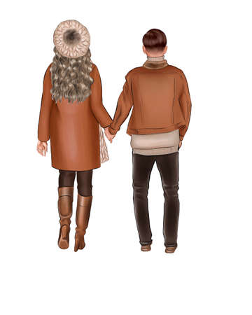 A girl in a brown coat and a beige beret goes by the hand with a man in a brown jacket. Фото со стока