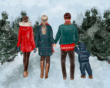 Mother, father and 2 children walking forward in the forest. Family together outdoors, vacation