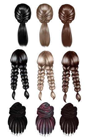 A set of hairstyles from hair of different colors Фото со стока