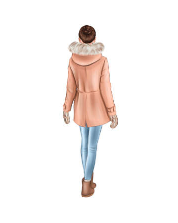 Girl in warm winter clothes isolated on a white background. Back view. Hair is gathered in a bun, pink jacket and jeans. Фото со стока