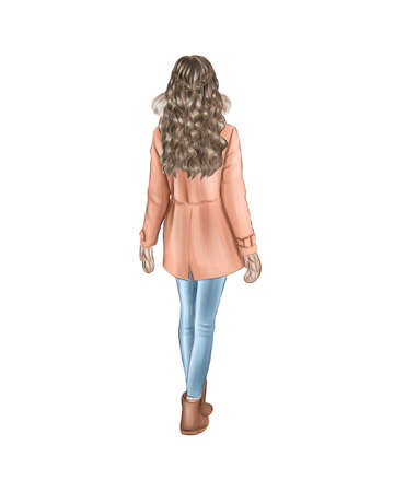 Girl in warm winter clothes isolated on white background. Back view. Long blonde hair down, beige jacket and jeans.