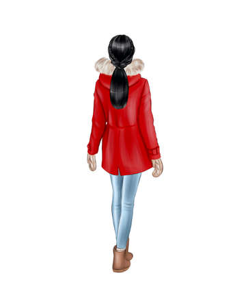 Girl in warm winter clothes isolated on white background. Back view. Red jacket and jeans. Фото со стока