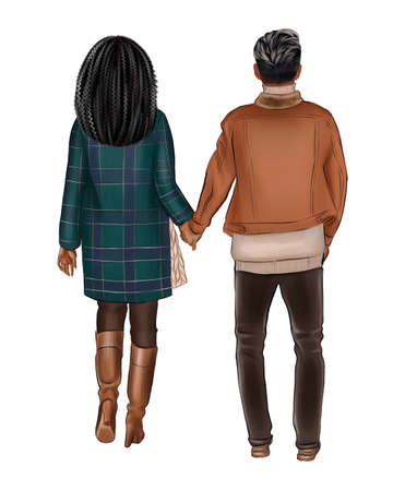 A girl in a green coat walks by the hand with a man in a beige jacket.