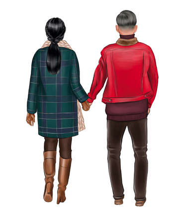 A girl in a green coat goes by the hand with a man in a red jacket.