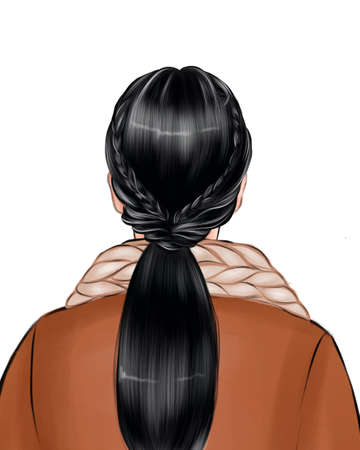 The back of the womans head, her hair gathered in a bun.