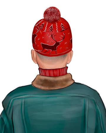 The back of the head of a man in a red cap. Фото со стока
