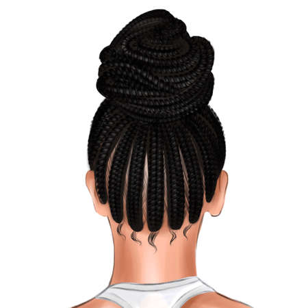 At the back of the Afro womans head, the hair is gathered in a bun. Фото со стока