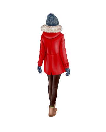 Girl in red winter clothes isolated on white background. Back view.