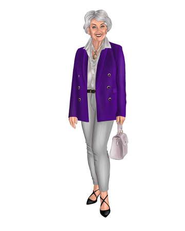 Illustration of an elderly woman in a purple jacket.