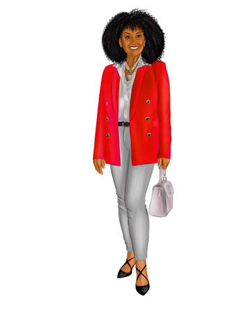 Illustration of an elderly woman in a red jacket and white trousers.
