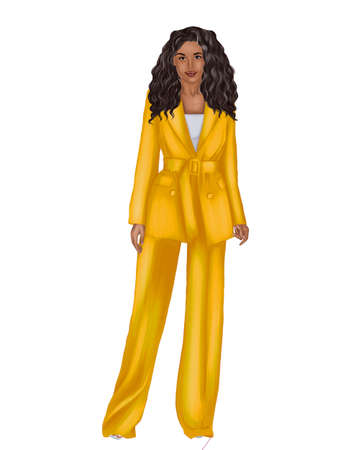 Illustration of a young black woman in a yellow trouser suit.