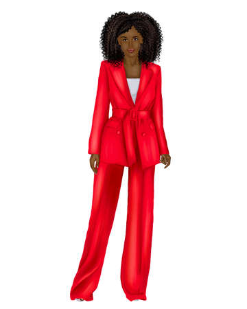 Illustration of a young African woman businessman in a green business suit on a white background. Фото со стока