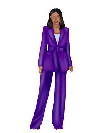 Illustration of a young African woman businessman in a purple business suit on a white background.