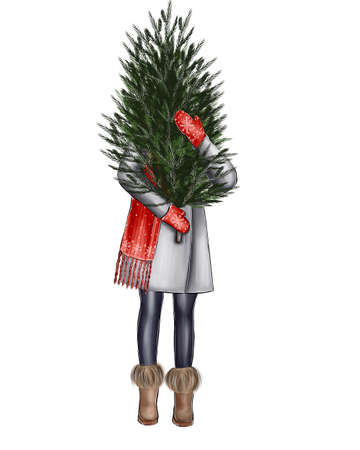 Illustration of a girl with a Christmas tree in her hands.