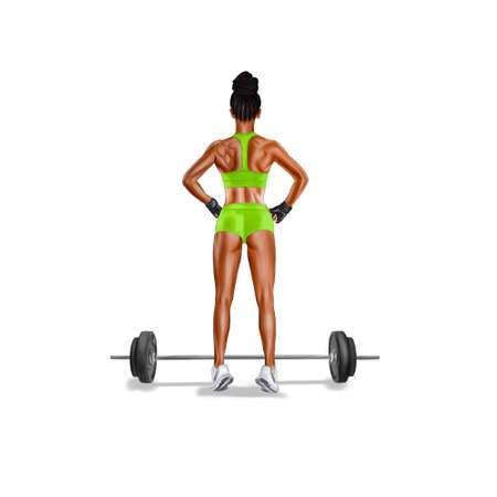 Athletic African American girl with a barbell on a white background. Back.