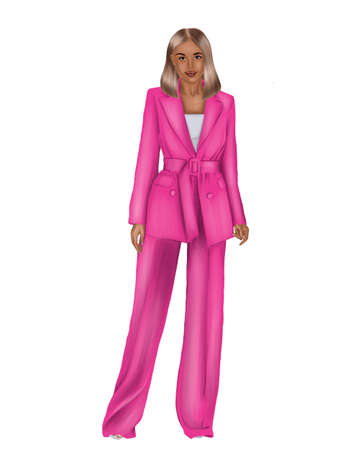 Illustration of a young woman in a pink business suit on a white background. Фото со стока