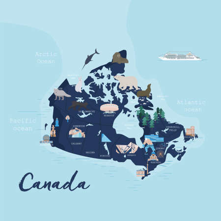 Canada cartoon travel map vector illustration with landmarks, cities, roadmap. Infographic concept shape template design with country navigator. Business journey and tourism web layout, clipart, icons Ilustracja