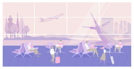 People sitting and walking in Airport interior waiting hall with aircraft, airplane. Passenger seats in departure lounge modern terminal. Business, travel concept. Flat Vector Illustration.