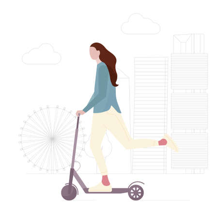 Young girl with long hair is riding electric scooter. Concept of healthy lifestyle, Ecology transport. Woman silhouette is engaged in leisure, entertainment, vehicle. Flat cartoon vector illustration