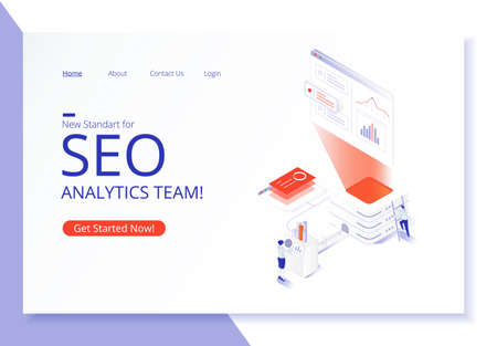 Creative website template design. SEO analytics team landing page. Vector isometric illustration concept of search engine optimization, analysis, chart, people. Modern 3d graphic design in flat style