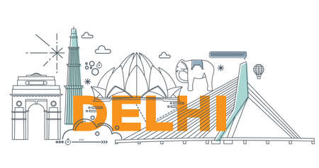 Typography word Delhi branding technology concept. Collection of flat vector web icons. Indian culture travel set, architectures, specialties detailed silhouette. Doodle famous landmarks.