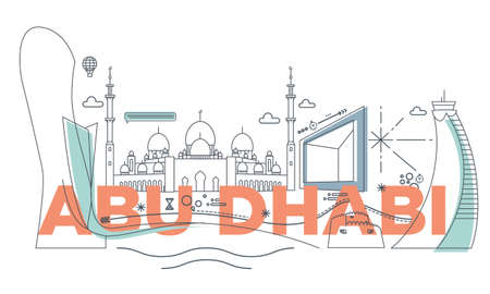 Typography word Abu Dhabi branding technology concept. Collection of flat vector web icons. Arabian culture travel set, architectures, specialties detailed silhouette. Doodle famous landmarks.