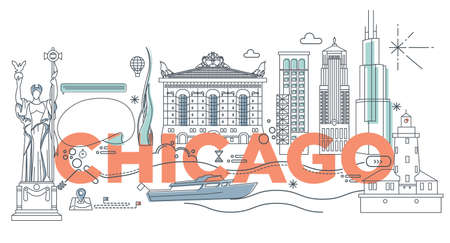 Typography word Chicago branding technology concept. Collection of flat vector web icons. American culture travel set, architectures, specialties detailed silhouette. Doodle famous landmarks. Vettoriali