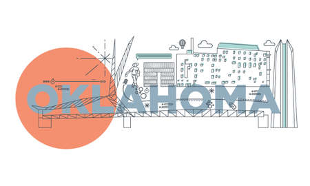 Typography word Oklahoma branding technology concept. Collection of flat vector web icons. American culture travel set, architectures, specialties detailed silhouette. Doodle famous landmarks.
