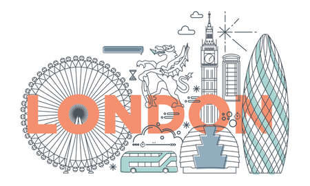 Typography word London city branding technology concept. Collection flat vector web icons. England culture travel set, architectures, specialties detailed silhouette. Doodle cityscape famous landmarks Vettoriali