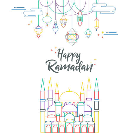 Outline illustration Ramadan Kareem Background with Lamps, Crescent and Stars - Vector. A Beautiful Arabic Greeting Card of Ramadan Mubarak with Colorful Hanging Fanoos and Islamic moon, a mosque dom. Ilustração