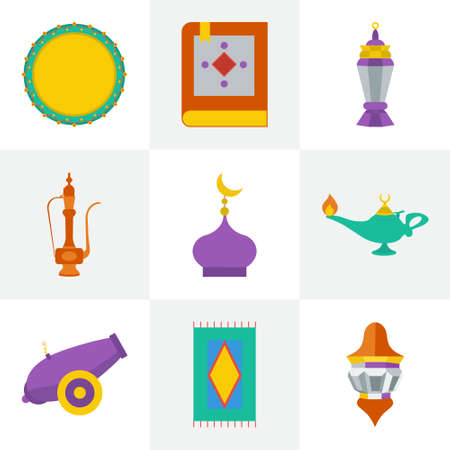 Flat icons set Ramadan Kareem Background with Lamps, Crescent and Stars - Vector. A Beautiful Arabic Greeting Card of Ramadan Mubarak with Colorful Hanging Fanoos and Islamic moon, a mosque dom.